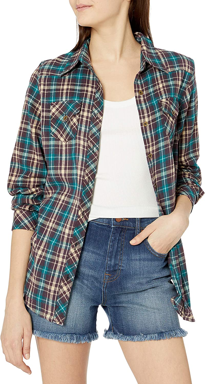 Angie Womens Plaid Button Up Top with Ombre and Frayed Hem