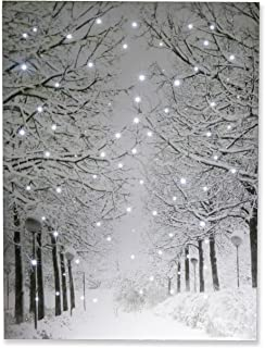 Clever Creations Snowy Winter Path Light Up Poster Sparkling Canvas Wall Art with Bright LED Lighting | 15.75