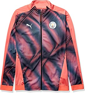 PUMA Men's Standard Manchester City MCFC Stadium League Jacket, Georgia Peach Black, XXL