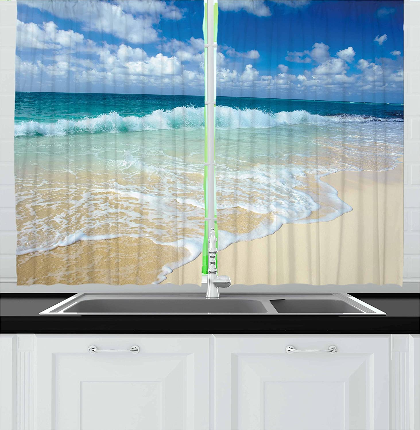 Ambesonne New York Mall Wave Kitchen Curtains Max 67% OFF Beach Empty Foamy on with Waves