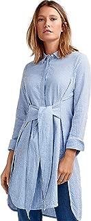 Women's Plus Size Tie-Waist Seersucker Tunic