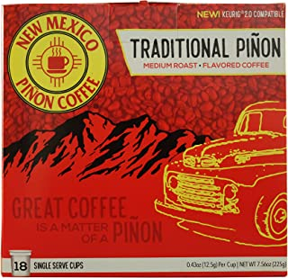 New Mexico Piñon Coffee Naturally Flavored Single-Serve Cups for Keurig Brewers (Traditional Piñon, 18 count)