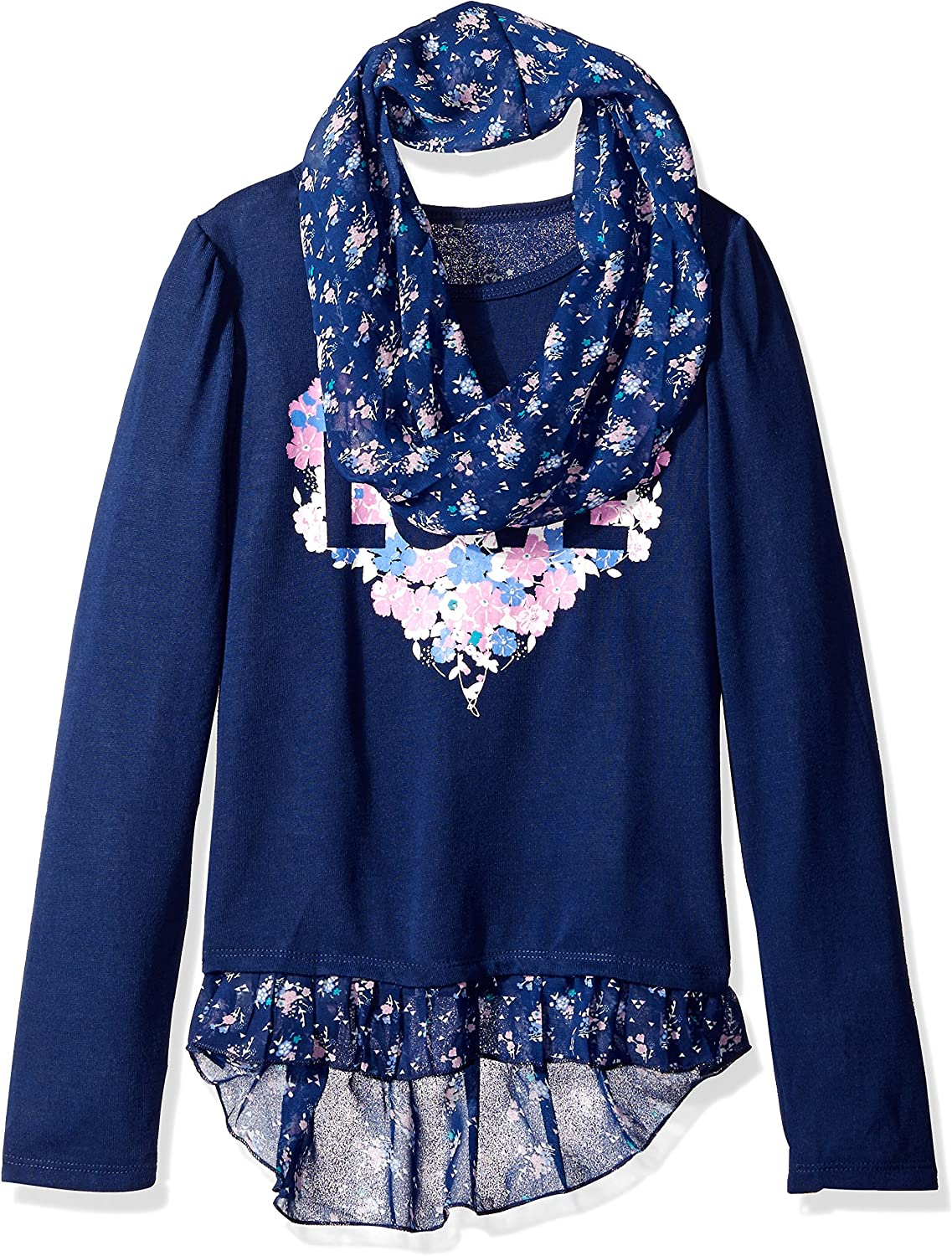 Dream Star Girls' Hacci Screen Top with Chiffon Floral Printed Scarf and Hang