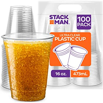 Stack Man - 16oz Plastic Cups [100-Pack] [100 Pack - 16 oz.] Clear Disposable Plastic Cups PET Crystal Clear Disposable 16oz Plastic Cups