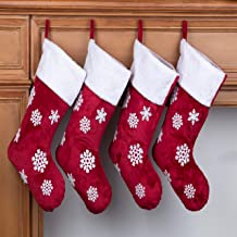 MOSTOP 4 Pack Family Christmas Stockings 18 Inches Red Stockings Big Size with Snowflake Plush for Xmas Family Holiday Par...