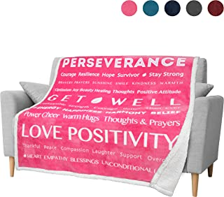 PAVILIA Healing Thoughts Blanket, Sherpa Fleece Throw for Women Men | Super Soft, Fluffy, Plush Microfiber Prayer Blanket | Get Well Soon Gift Blanket for Cancer Recovery Patients | 50 x 60 in (Pink)