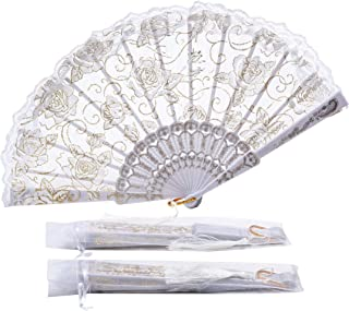 Sepwedd 30pcs Rose Lace Floral Folding Hand Fans Chinese Retro Folding Fan Bridal Dancing Props Church Wedding Gift Party Favors with Gift Bags(White)