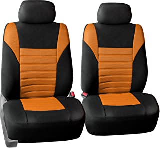FH Group FH-FB068102 Premium 3D Air Mesh Seat Covers Pair Set (Airbag Compatible), Orange/Black Color- Fit Most Car, Truck, SUV, or Van
