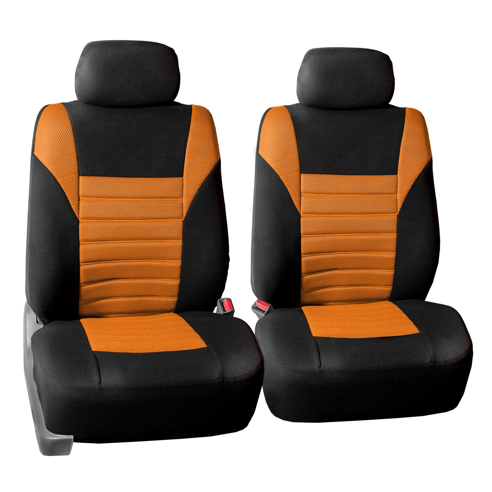 w FH Group FB068102 Premium 3D Air Mesh Seat Covers Pair Set Gift or Van Airbag Compatible Truck Orange//Black Color- Fit Most Car SUV