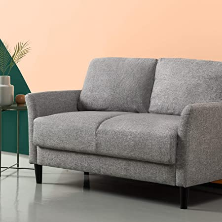 ZINUS Jackie Loveseat Sofa / Easy, Tool-Free Assembly, Soft Grey