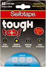 Sellotape Tough Double Sided Clear 48 Tabs, (Tough Tabs 12mm x 12mm) - Pack of 12