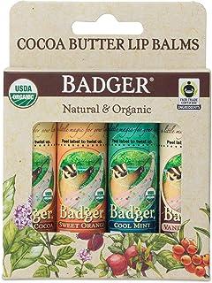 Badger - Cocoa Butter Lip Balm Set, Fair Trade, Certified Organic Lip Balm, Natural Lip Balm, Lip Butter, Flavored Lip Bal...