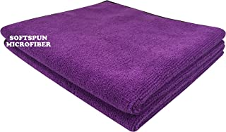 SOFTSPUN Microfiber Cloth - 2 pcs - 40x40 cms - 340 GSM Purple - Thick Lint & Streak-Free Multipurpose Cloths - Automotive Microfibre Towels for Car Bike Cleaning Polishing Washing & Detailing