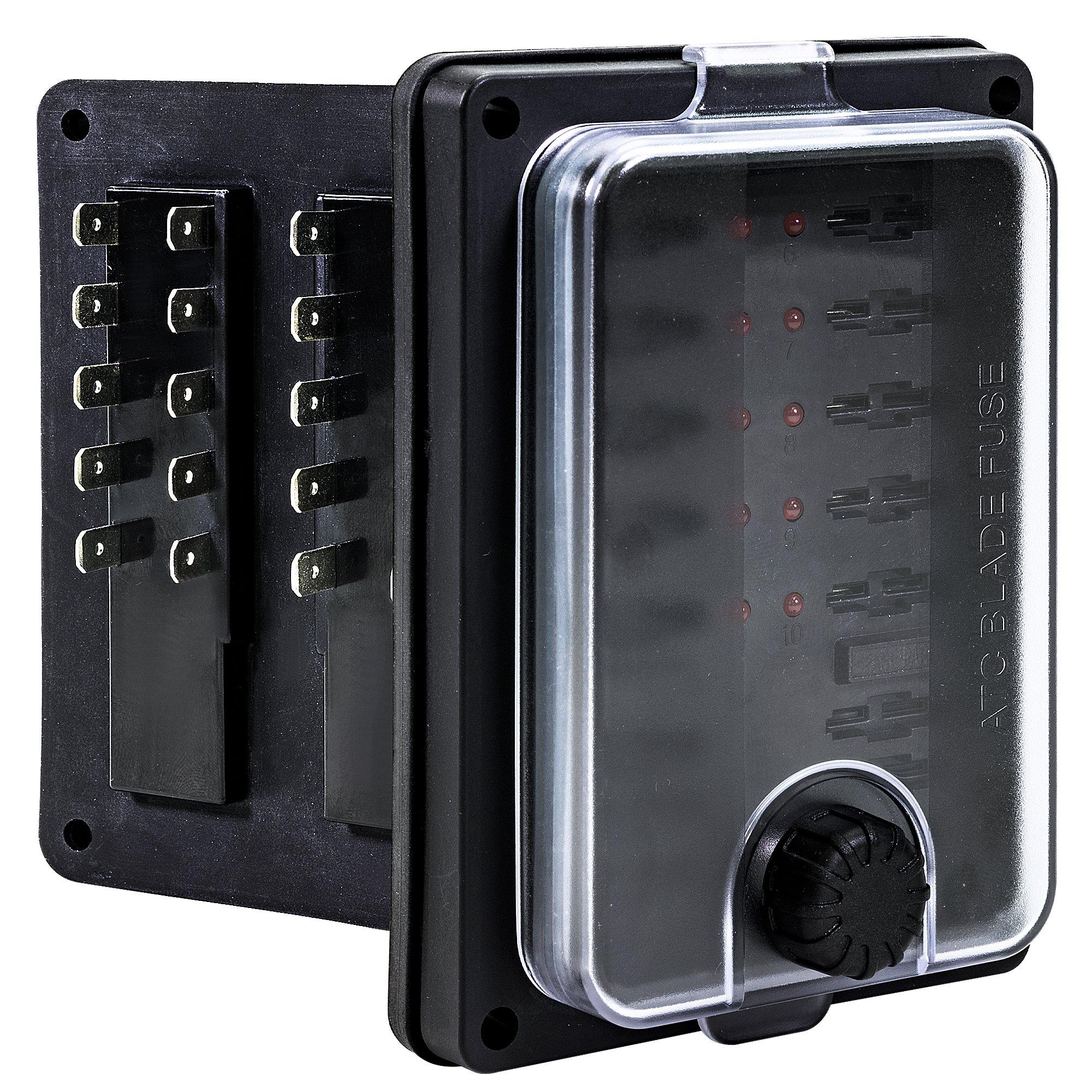 Amazon.com: 10 Way Waterproof Fuse Box for Automotive [ATC/ATO Blade Fuses]  [250 Amp] [Up to 25A per Socket] [LED Indicator] [12V - 32V DC] Auto Marine  Fuse Block: Automotive   Spare Fuses Box Enclosure      Amazon