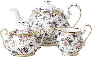 Royal Albert 100 Years Anniversary Collection 1940 English Chintz 3 Piece Tea Set, 8