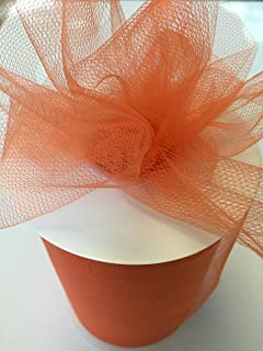Tulle Fabric Spool/Roll 6 inch x 100 yards (300 feet), 34 Colors Available, On Sale Now! (orange)