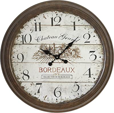 Deco 79 Metal Wall Clock with Dial Face of 1971 Bordeaux Clock