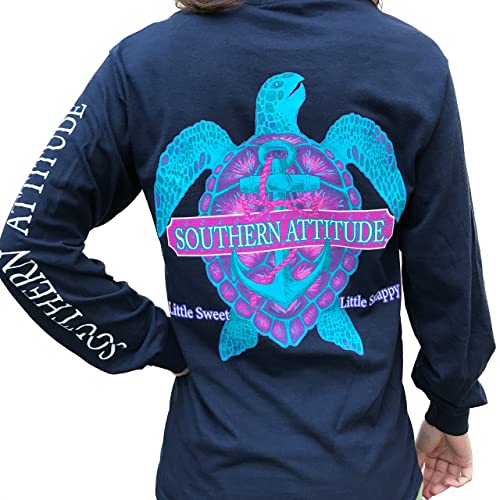 0a2e3a5be Southern Attitude Snappy Turtle Navy Long Sleeve Shirt