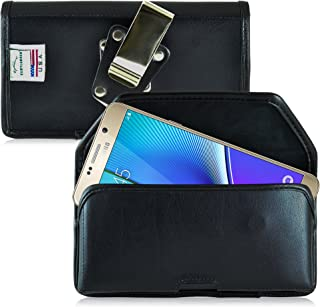 Turtleback Belt Case Compatible with Samsung Galaxy Note 5 Black Holster Leather Pouch with Heavy Duty Rotating Ratcheting Belt Clip Horizontal Made in USA