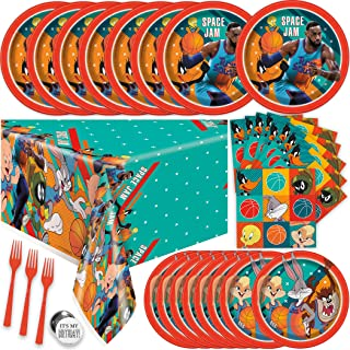 Space Jam Party Supplies Set - Space Jam 2 Party Supplies Looney Tunes, Serves 16 Guests, With Table Cover, Plates, Napkin...