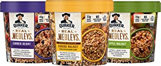 Quaker Real Medleys Oatmeal+, 3 Flavor Variety Pack, Oatmeal Cups, 12 Count