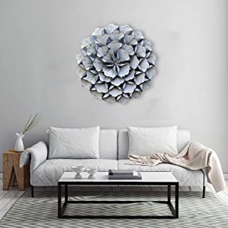 Craftter 3D Folded Leafs Metal Wall Art Sculpture Home Decor Wall Hanging- White Color