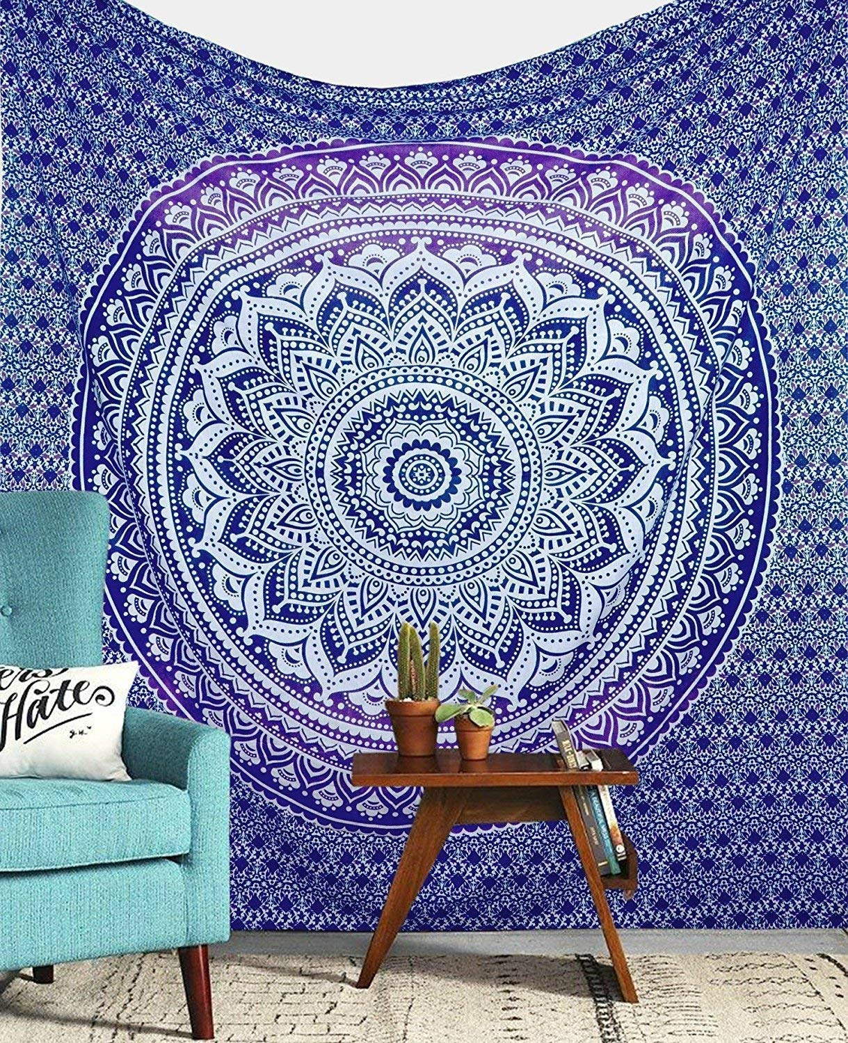 30 X 40 inches Approx Jaipur Handloom Tapestry Wall Tapestry Wall Hanging Tapestries Hippie Hippy Tapestry Indian Wall Decor Bohemian Wall Hanging Tapestries Wa , White Blue Peacock
