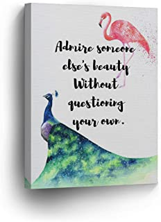 Dwi24isty Canvas Print Admire Someone Else's Beauty Without Questioning Your Own Flamingo Quote Home Decor Wall Art Pink Artwork Decoration