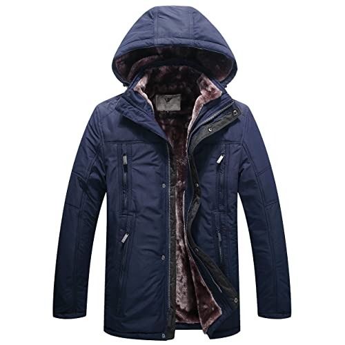 6a426832ea6 WenVen Men s Winter Fleece Jacket with Hood Thick Coat