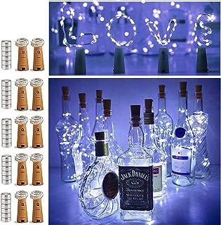 10 Pack 20 LED Wine Bottle Cork Lights Mini Fairy String Lights Copper Wire, Battery..
