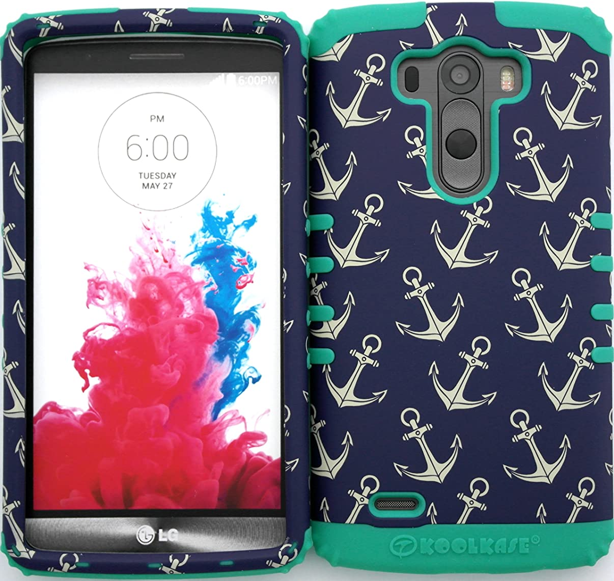 Wireless Fones TM Hybrid Dual Layer Cover Case for LG G3 Tiny Anchor Patterns Snap on + Teal Skin