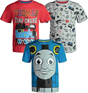 Thomas The Tank Engine Toddler Boys Short Sleeve T-Shirts 3 Pack Red Blue Grey