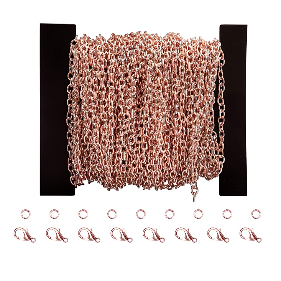 Qitian 3X4mm 12Meters Open Link Oval Cable Chain Rose Gold Plated Link Chain with Lobster Clasp Open Jump Ring qnjnmudd1086