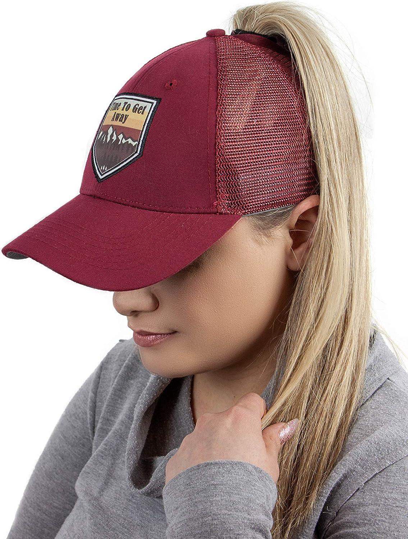 DATI Ponytail Hat High Messy Bun Womens Trucker Baseball Visor Dad Cap Low Profile PonyCap