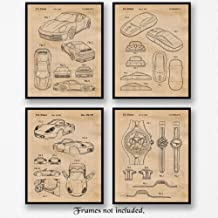 Original Porsche 911 & Boxster Patent Poster Prints, Set of 4 (8x10) Unframed Photos, Wall Art Decor Gifts Under 20 for Home, Office, Man Cave, Teacher, College Student, Germany Cars & Coffee Fan