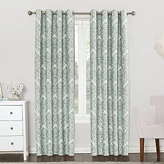 Sun Zero Caroline Woven Damask Blackout Lined Grommet Curtain Panel, 52