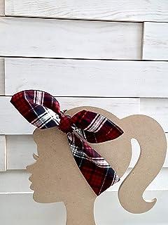 Red Black and White Plaid Headband, Reversible Headband, Adjustable Hairband, Headband with Bow, Top Knot Headband