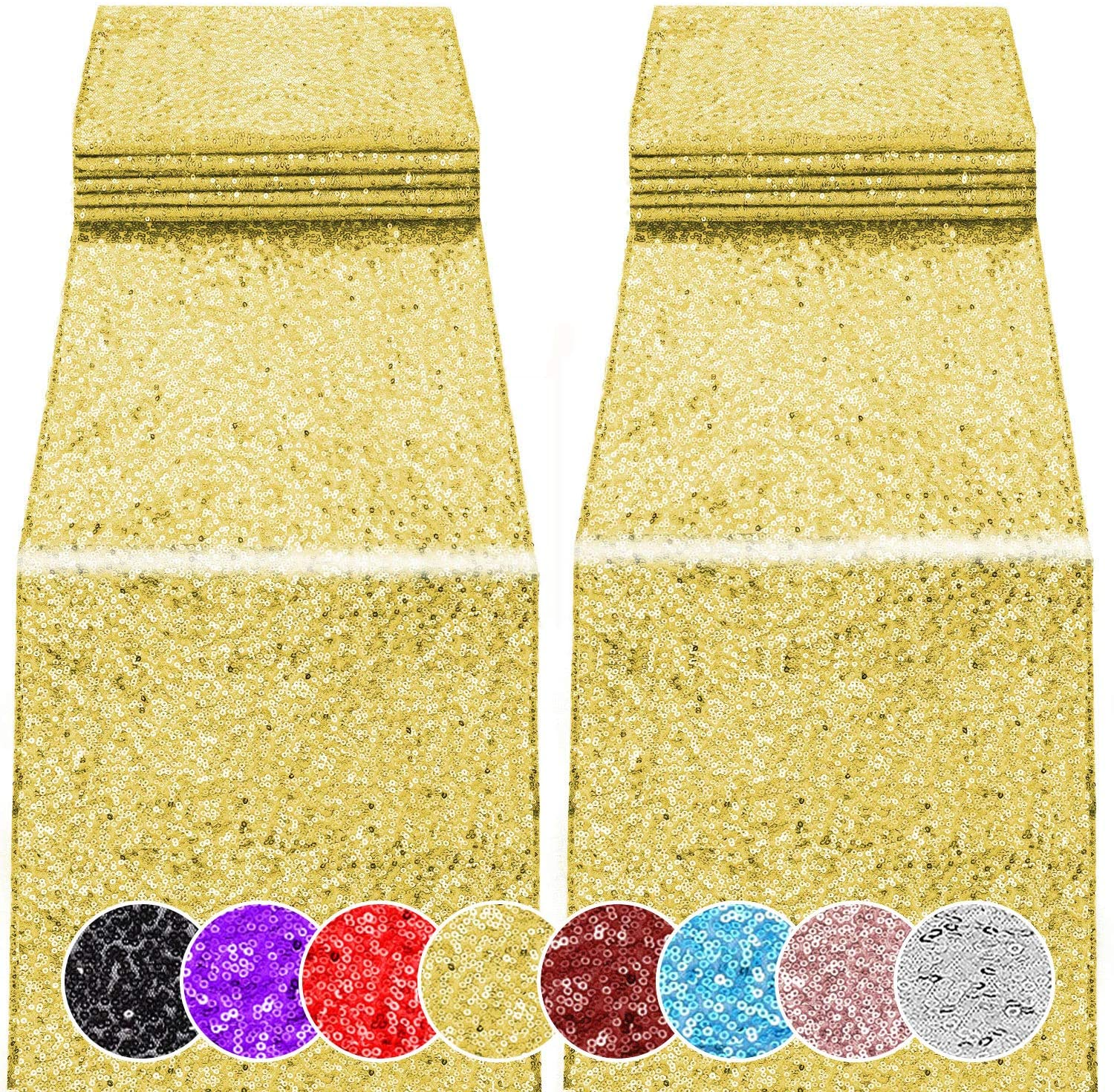 2 Genuine Pack 12 x National products 108 inches Birthday Wedding Sequin Table Runner for