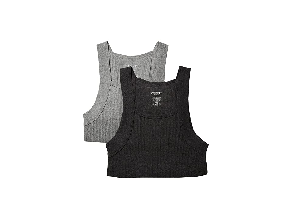 Image of 2(X)IST 2-Pack ESSENTIAL Square-Cut Tank (Charcoal Heather/Grey Heather) Men's Underwear