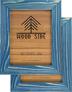 Rustic Wooden Picture Frame 5x7 Inch - Set of 2-100% Natural Eco Distressed Wood and Real Glass - Made for Wall and Table Top Display - Navy Blue