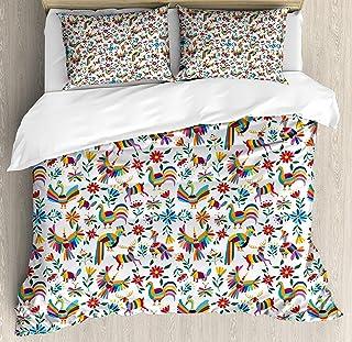 Juegos de cama mexicanos, diseño de arte tradicional latinoamericano con inspiraciones naturales Flores y pájaros, juego de funda nórdica de 3 piezas Colcha para niños / niños / adolescentes / adultos