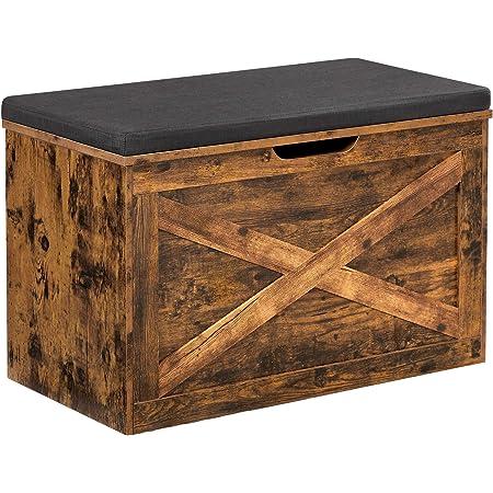 VASAGLE Banc à Chaussures, Coffre de Rangement, avec Coussin rembourré, Meuble d'entrée, Style Imitation Grange, 76 x 40 x 48 cm, Marron Rustique LHS056X01