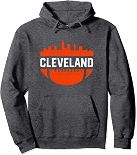 Vintage Downtown Cleveland Ohio Skyline Football Hoodie