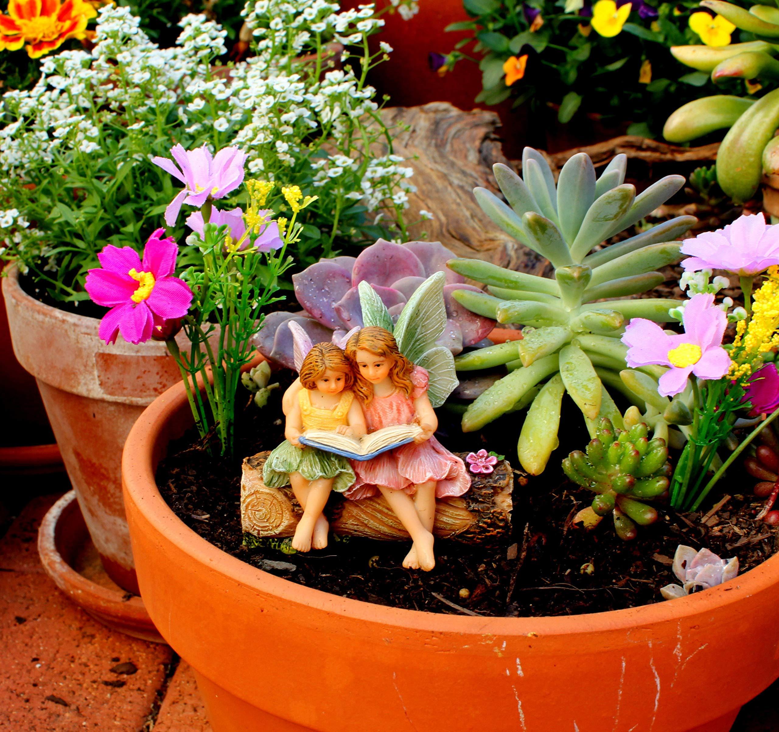 PRETMANNS Hadas de jardín de Hadas en Miniatura, 2 adorables Hadas sentadas en un Tronco Leyendo un Libro, Hadas de Tiempo de Historia, Suministros de jardín de Hadas, 1 Pieza: Amazon.es: Jardín
