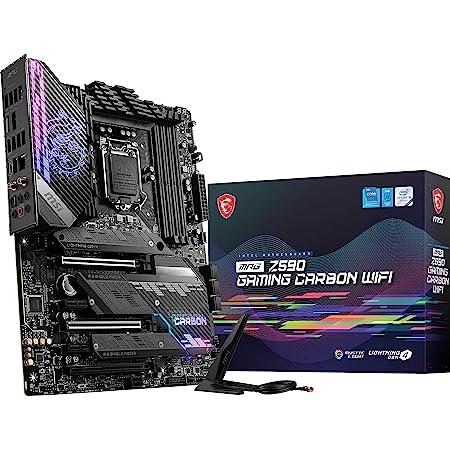 MSI MPG Z590 Gaming Carbon WiFi Gaming Motherboard (ATX, 11th/10th Gen Intel Core, LGA 1200 Socket, DDR4, PCIe 4, CFX, M.2 Slots, USB 3.2 Gen 2, Wi-Fi 6E, DP/HDMI, Mystic Light RGB)
