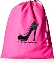 Miamica Travel Accessories, You Can Never Have Too Many Shoe Bag, Pink & Black