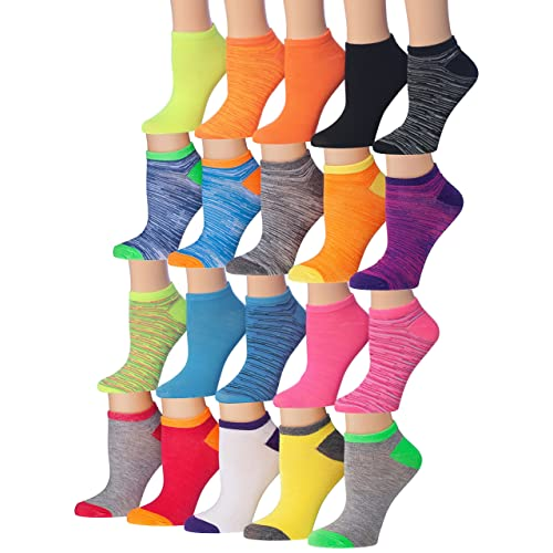 922cf70f968 Tipi Toe Women s 20 Pairs Colorful Patterned Low Cut No Show Socks