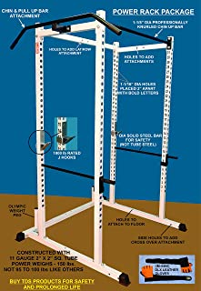 """TDS Mega 1000 lb Rated Power Squat Rack, 1.25"""" Dia Professionally knurled Front Chinning Bar, Side Mount Chin & Pull up bar and Deluxe Weight Lifting Leather Gloves. Special Package."""