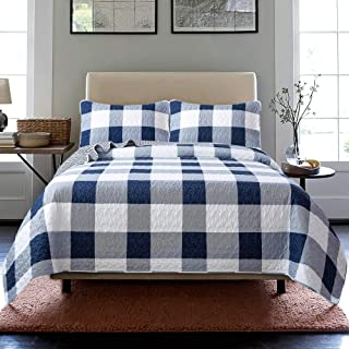 Soul & Lane Checks and Stripes 3-Piece Bedding Quilt Set - King with 2 Shams | Buffalo Check Lightweight Quilted Bedspread