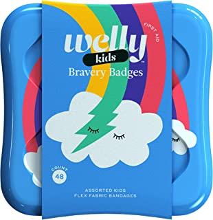 Welly Bandages - Bravery Badges, Flexible Fabric, Adhesive, Assorted Shapes, Rainbow and Unicorn Patterns - 48 ct